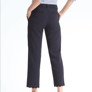 NWT Avery Straight-Fit Scallop-Hem Ankle Pant